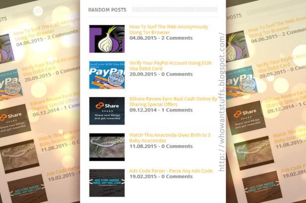 Add Simple Random Posts Widget for Blogger